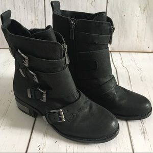 Vince Camuto Leather Moto Boots 7.5 - Like New